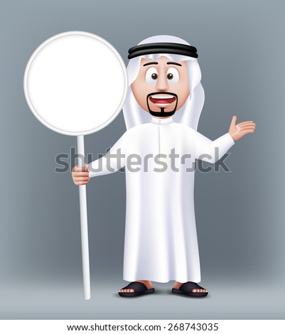 Realistic 3D Handsome Saudi Arab Man Character Wearing Traditional Clothes Holding Blank White Sign Board with Text Space. Editable Vector Illustration - stock vector