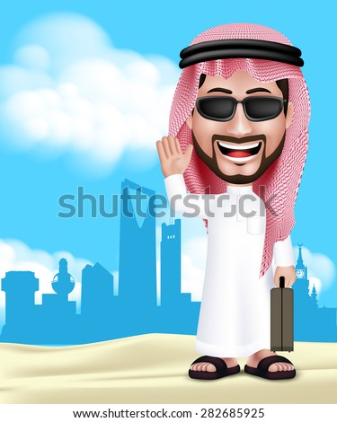 Realistic 3D Handsome Saudi Arab Man Wearing Thobe and Sunglasses Standing Happy With Traveling Bag in Middle East City With Hello Hand Gesture. Editable Vector Illustration. - stock vector