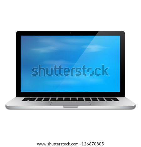 Realistic 3d laptop vector with blue sky wallpaper - stock vector