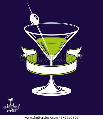 Realistic 3d martini glass with olive berry and classic ribbon, alcohol theme illustration. Stylized artistic lounge object, relaxation and celebration