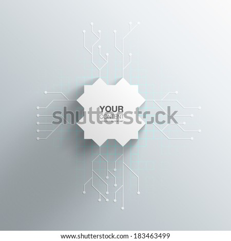 Realistic 3D Microchip Design With Transparent Shadow And Detailed Printed Circuit Board Background EPS10 - stock vector