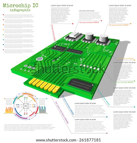 realistic 3d microchip info graphic with data chart diagram graph info - stock vector