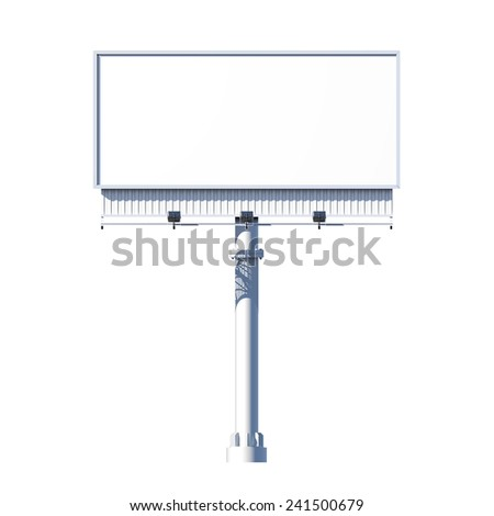 Realistic 3d outdoor blank advertising billboard isolated on white background vector illustration - stock vector