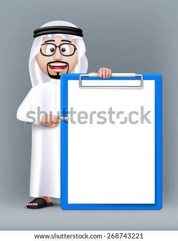 Realistic 3D Smart Saudi Arab Man Character Wearing Traditional Clothes with Eyeglasses Holding Blank and Empty Clipboard for Text Lists. Editable Vector Illustration - stock vector