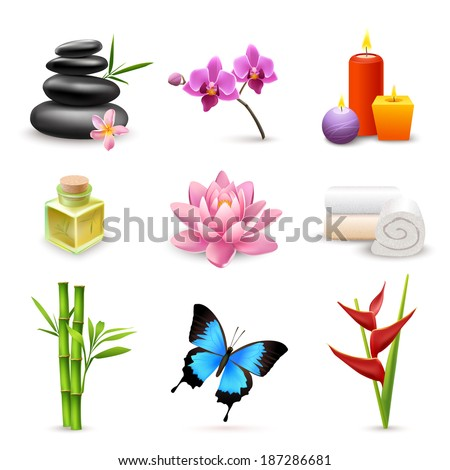 Realistic 3d spa beauty health care icons set with bamboo lotus candles isolated vector illustration - stock vector