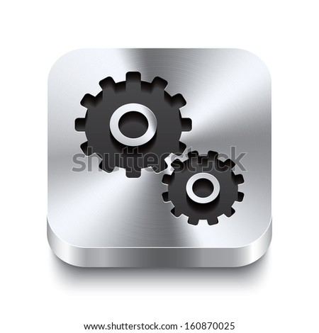 Realistic 3d vector illustration of a square metal button with a gear icon. This brushed steel button is the perfect switch for navigation in any user interface. - stock vector