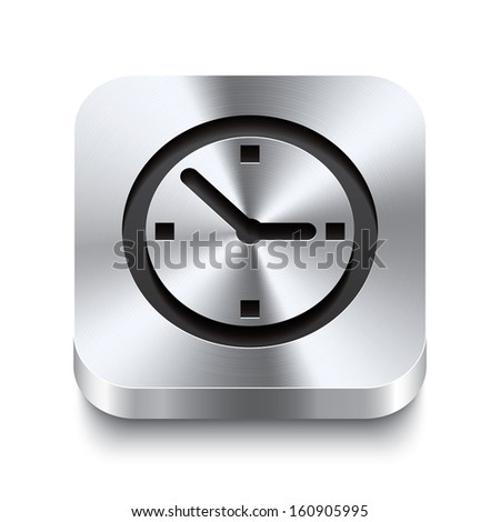 Realistic 3d vector illustration of a square metal button with a watch icon. This brushed steel button is the perfect switch for navigation in any user interface. - stock vector