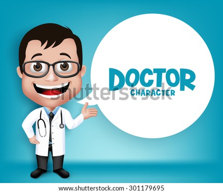 Realistic 3D Young Friendly Professional Doctor Medical Character Speaking Prescription in Patient. White Space for Message. Vector Illustration - stock vector