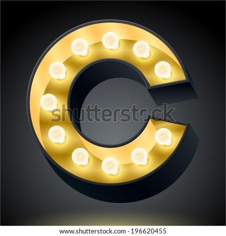Realistic dark lamp alphabet for light board. Vector illustration of bulb lamp letter c - stock vector