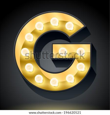 Realistic dark lamp alphabet for light board. Vector illustration of bulb lamp letter g - stock vector