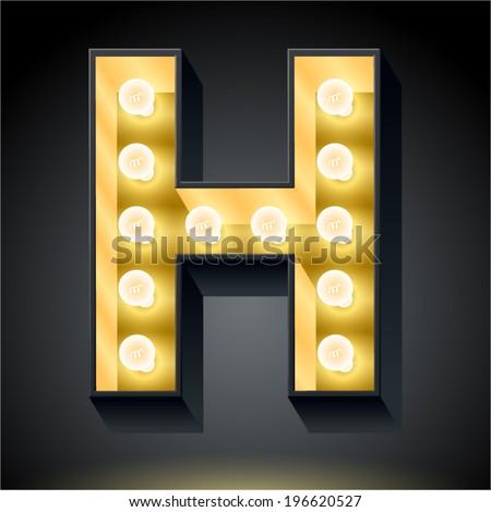 realistic dark lamp alphabet light board stock vector royalty free