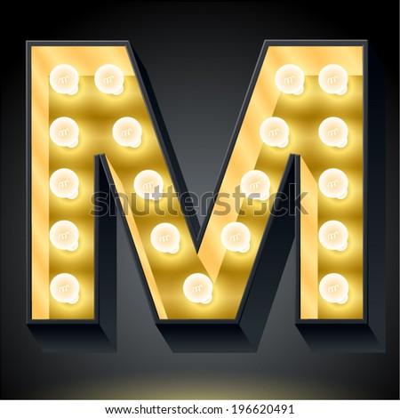 Realistic dark lamp alphabet for light board. Vector illustration of bulb lamp letter m - stock vector