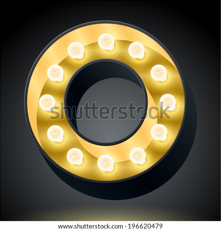 Realistic dark lamp alphabet for light board. Vector illustration of bulb lamp letter o - stock vector