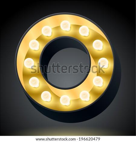 Realistic dark lamp alphabet for light board. Vector illustration of bulb lamp letter o - stock vector