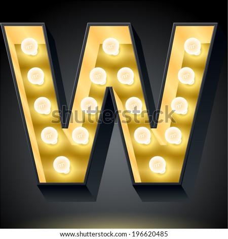 Realistic dark lamp alphabet for light board. Vector illustration of bulb lamp letter w - stock vector