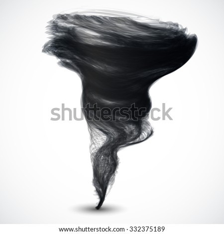 Realistic dark tornado isolated on white background - stock vector