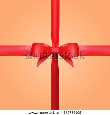 Realistic Decorative  Red Gift Ribbon With Bow - stock vector