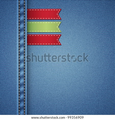 realistic denim background with labels, vector illustration - stock vector