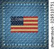 Realistic denim background with USA flag in the middle, vector illustration. Retro style. - stock photo