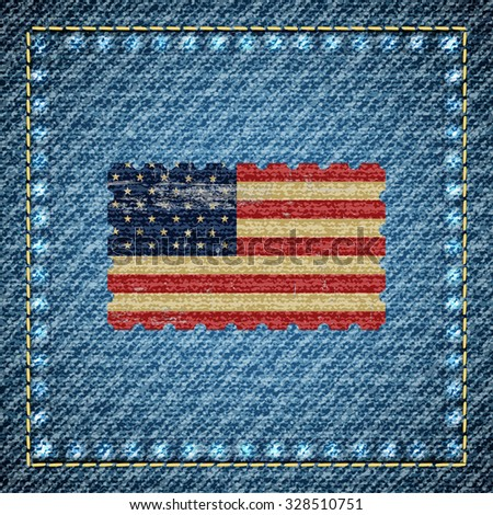 Realistic denim background with USA flag in the middle, vector illustration. Retro style. - stock vector