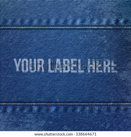 Realistic Denim blue Cloth Texture. Vector Jeans Fabric Background