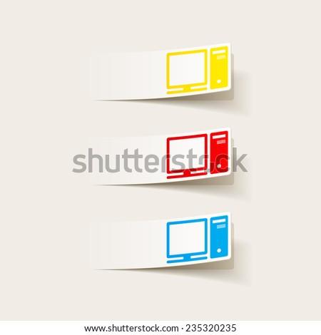 realistic design element: computer - stock vector