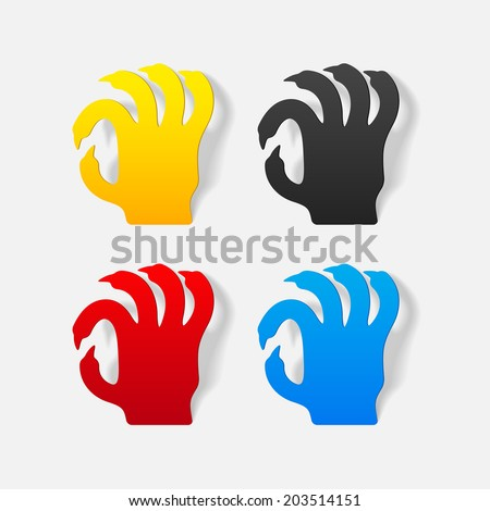 realistic design element: hand - stock vector