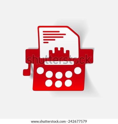 realistic design element: typewriter - stock vector