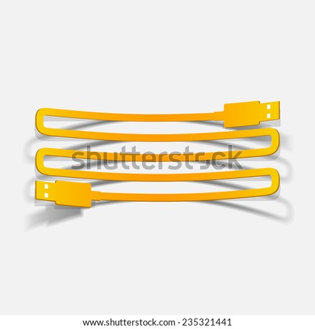 realistic design element: usb-cable. Vector Illustration - stock vector