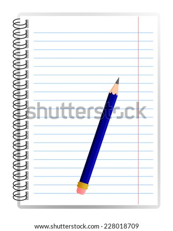 Realistic design of spiral blank lined notebook and detailed blue pencil. office equipment concept. vector art image illustration, isolated on white background, eps10 - stock vector