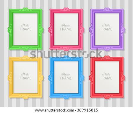 Realistic design photo frames on white background. Decorative template for baby, family or memories. Scrapbook concept, vector illustration. Birthday. Colorful photo frames - stock vector