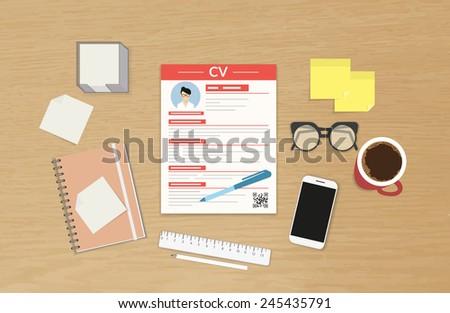 Realistic desktop design with CV template presentation - stock vector
