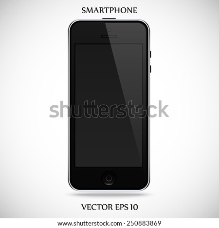 realistic detailed black smartphone in iphone style with black touch screen isolated on a gray background. vector illustration eps10 - stock vector