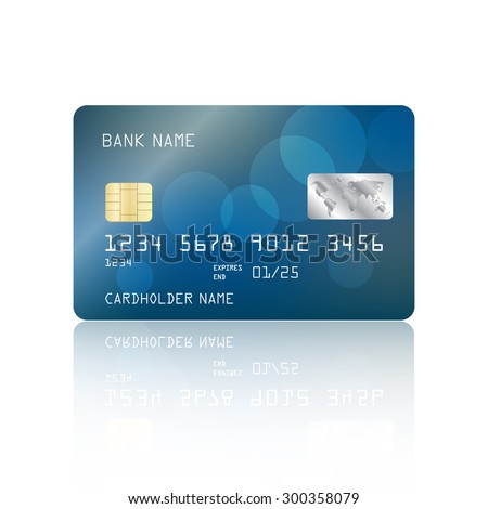 Realistic detailed credit card with abstract blue design with bokeh lights isolated on white background. Vector illustration EPS10 - stock vector