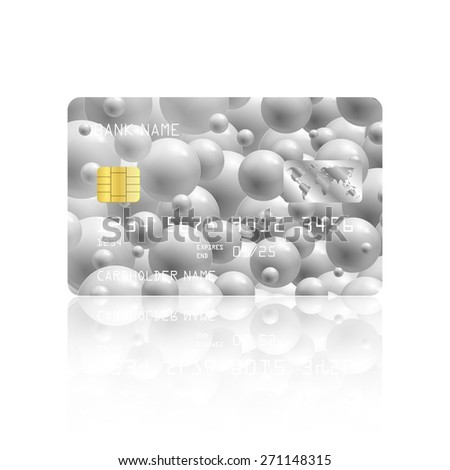 Realistic detailed credit card with abstract geometric design isolated on white background. Vector illustration EPS10 - stock vector