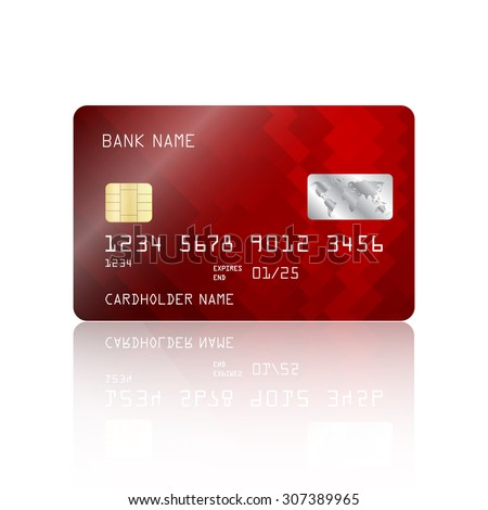 Realistic detailed credit card with abstract geometric red design isolated on white background. Vector illustration EPS10 - stock vector