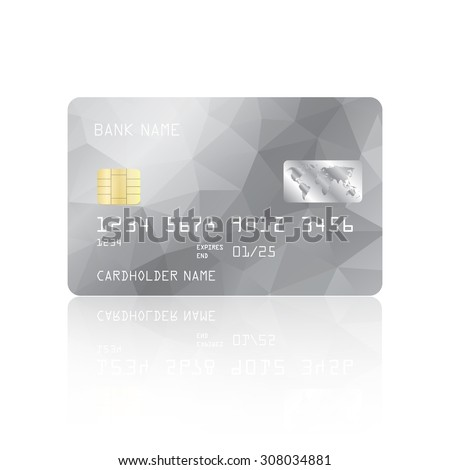 Realistic detailed credit card with abstract geometric silver design isolated on white background. Vector illustration EPS10 - stock vector