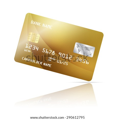 Realistic detailed credit card with abstract gold design isolated on white background. Vector illustration EPS10 - stock vector