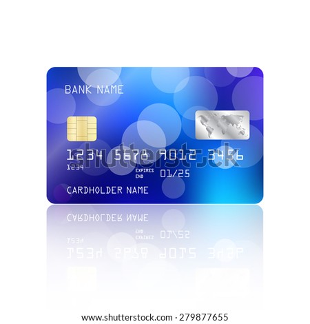 Realistic detailed credit card with blue bokeh lights design isolated on white background. Vector illustration EPS10 - stock vector