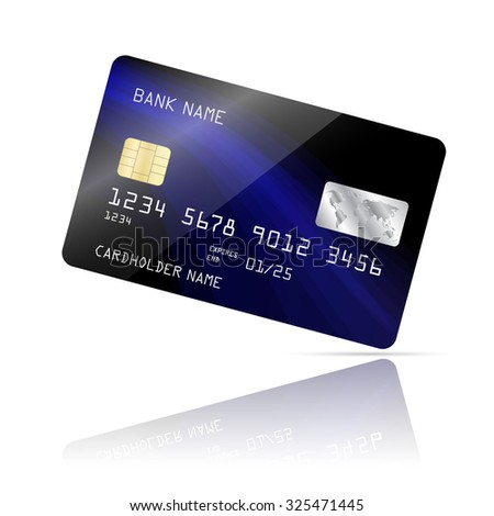 Realistic detailed credit card with blue wave abstract design isolated on white background. Vector illustration EPS10