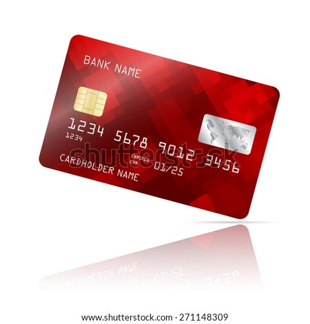 Realistic detailed credit card with geometric red design isolated on white background. Vector illustration EPS10 - stock vector