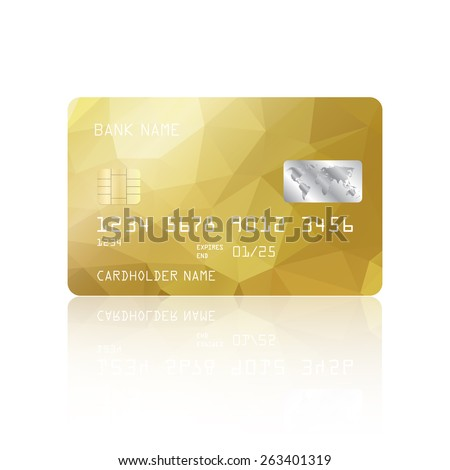 Realistic detailed credit card with gold geometric triangular design isolated on white background. Vector illustration EPS10 - stock vector