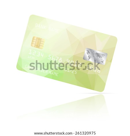 Realistic detailed credit card with green geometric triangular design isolated on white background. Vector illustration EPS10 - stock vector