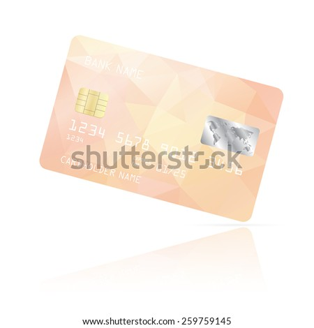 Realistic detailed credit card with pink geometric triangular design isolated on white background. Vector illustration EPS10 - stock vector