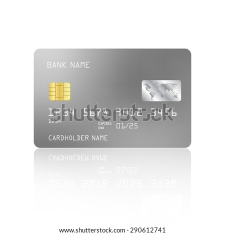 Realistic detailed credit card with silver design isolated on white background. Vector illustration EPS10 - stock vector