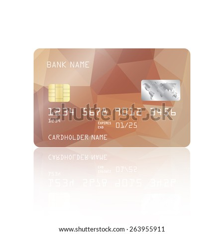 Realistic detailed credit card with turquoise geometric triangular design isolated on white background. Vector illustration EPS10 - stock vector