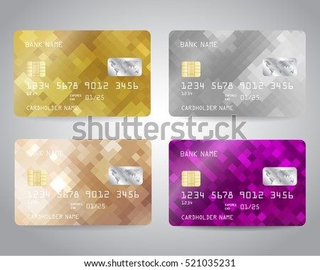 Realistic detailed credit cards set with colorful abstract gold, silver, bronze, purple geometric design background. Vector illustration EPS10