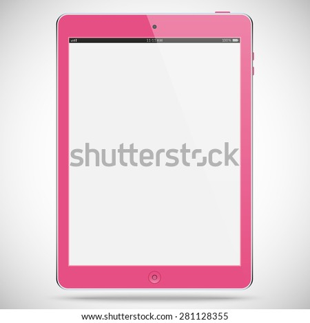 realistic detailed pink tablet in ipad style with gray touch screen isolated on a gray background. vector illustration eps10 - stock vector