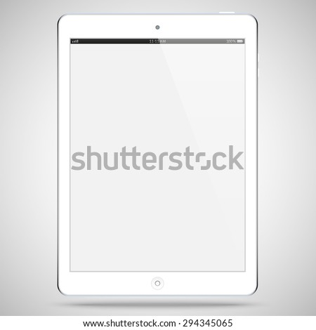 realistic detailed white tablet in ipad style with touch screen isolated on grey background. vector illustration eps10 - stock vector