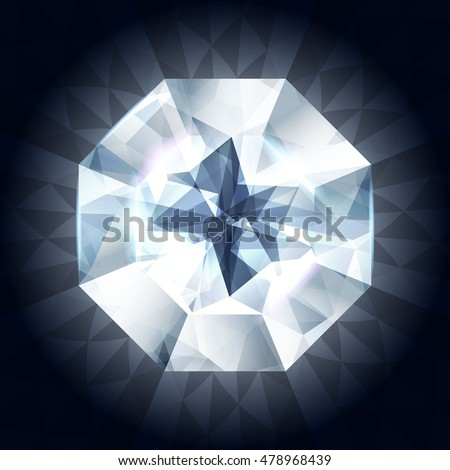 Realistic diamond in top view on shiny dark background. Vector illustration. Crystal texture. White gem stone.